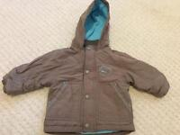 Brown with blue detail fleece lined jacket size 6-9 months