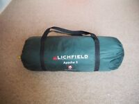 Lichfield Apache 3 man/person tent. Used. With all pegs, poles and carry bag.