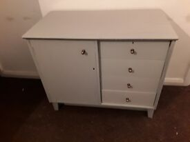 Vintage Shabby Chic Grey Painted Cabinet