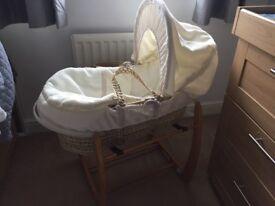 Mamas and papas Moses basket, stand and mattress
