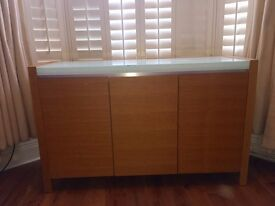 Dwell wooden sideboard with glass top