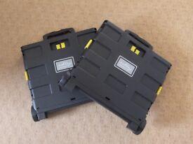 2 X Fold Away Cart/Trolley/Storage 25l Capacity UNUSED