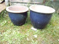 2 blue garden plant pots