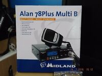 AS NEW BOXED MIDLAND 78PLUS MULTI BAND AM/FM CB RADIO WITH PSU AND KL 60 LINEAR