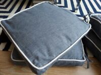 The White Company 4 Chambray Square Blue Piped edged Seat Cushions (pads and covers)