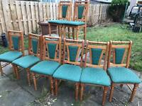 8 green and wood chairs for sale - VGC