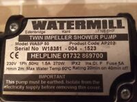 Water mill twin impeller shower pump