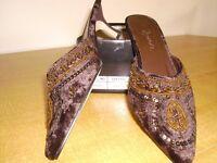 Shoes Brown Beaded Velvet