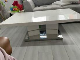 WHITE & SILVER COFFEE TABLE