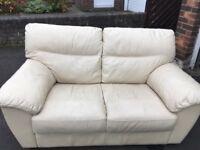 3+2 Seater Cream Leather Sofa