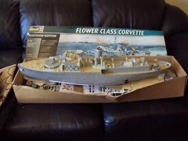 large model flower class corvette ship unfinshed project