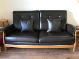 Ercol Gina Large 3 Seater Sofa in Brown Leather and Ash Frame