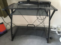 Computer Desk (misty glass), Great Condition