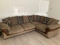Left hand corner sofa in Mink/Darkwood