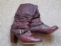 Size 7 autumn boots - Red or Dead - Burgundy leather