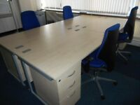 7 - RECTANGULAR DESKS - 1600MM X 800MM & PEDESTALS - VG CONDITION