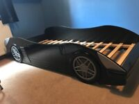 Child's Black Car Bed with mattress