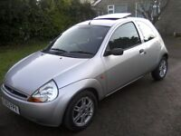 FORD KA 1-3 SPECIAL EDITION 2003 (53 PLATE) 78,000 MILES. FORD ALLOYS, ELECTRIC SLIDE/TILT SUNROOF.