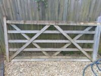 Five bar wooden gate 8ft braced farm or garden LEFT HAND hanging good condition