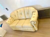 Leather 3 Piece Suite - Beige Leather Sofa & 2 Armchairs