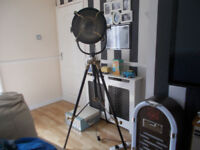 tripod floor lamp large bronze/black retro spot light