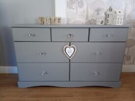 Beautiful Solid Pine Chest of 7 Drawers Painted in Frenchic City Slicker Grey