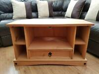 Wooden corner tv stand bench unit vgc