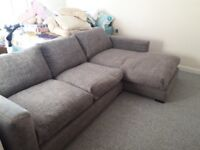 Fultons L shape grey fabric settee and single seat