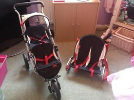 Mamas and Papas Junior Pliko Doll Twin Pushchair and Twin Car Seat