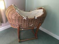 Wicker Moses basket, mattress and stand