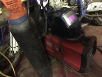 Clarke mig weld 145 turbo with gas bottle and regulator and mask