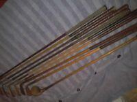 9 Old Golf clubs 3 Have oak shafts