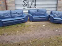 Comfy blue italian leather sofa suite.3 and 2 and 1.good condition. Can deliver