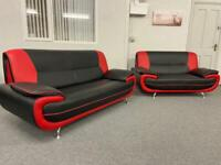 3 & 2 Stunning modern black & red faux leather sofas suite