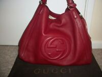 100% AUTHENTIC GUCCI DARK RED HOBO BAG - MINT