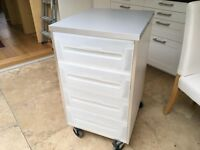Chest of drawers on casters, suitable for shed, utililty room or garage
