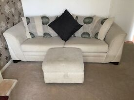 Large 3 seater scatter pillow back sofa and storage foot stool