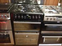 Black 60cm gas cooker (double gas oven)