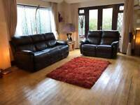 3+2 seater brown leather sofas