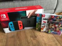 Nintendo Switch with 3 Games and Protective Case