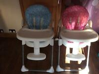 Toys R Us pink and blue highchairs, available separately