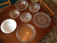 Collection of vintage/retro glass bowls and plates