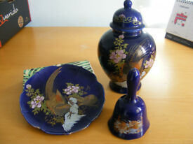 blue chinese vase set