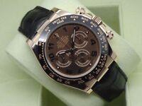 Rolex Daytona Ev Rose Gold Leather Strap SW7750