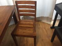 Original Sheesham wood 200x100 dining table with 3 chairs.