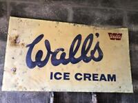 Vintage Retro 1970's Large Walls Ice Cream Metal Sign