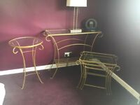 3 Next glass tables console, lamp & nest of tables