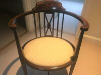 Newly Upholstered Victorian Bedroom Chair using Osborne and Little fabric