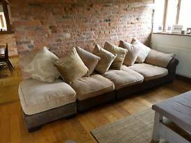 Corner sofa with foot stool in good condition