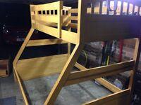 Joseph triple sleeper maple bunk beds with mattresses